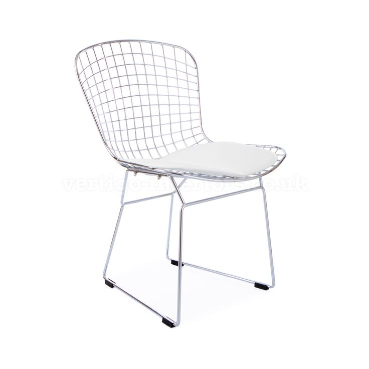 Marvelous Bertoia Dining Chair Wire Side Chair With White Pad – Inspired By Designs of Harry Bertoia …