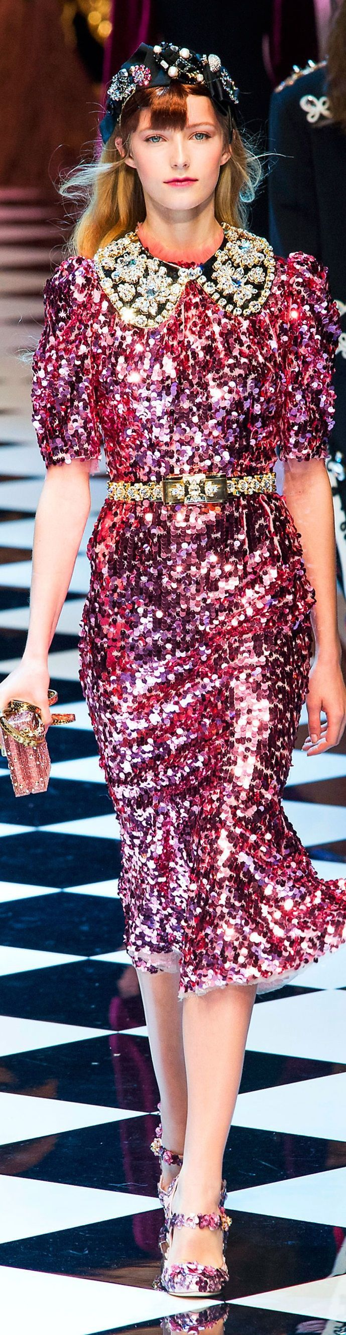 Pink Sequin Dress from Dolce and Gabbana fall 2016 RTW    // Pinned on @benitathediva, DIY fashion inspiration.