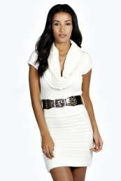 Cassie Cowl Neck Belted Knitted Dress