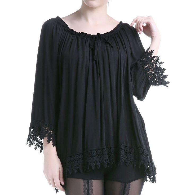 Camiseta Gótica Negra con Guipur | Crazyinlove España