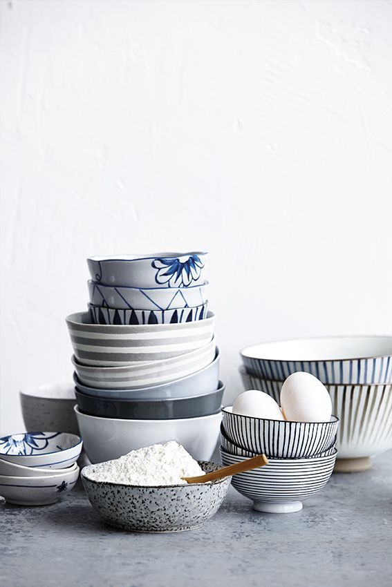 Blue and white, black and white Fresh styling | bowls | eggs | crockery | House Doctor Everyday 2015