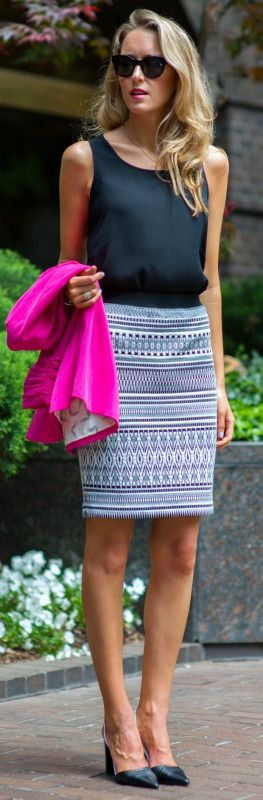 Summer Work Outfit. black and white aztec print pencil skirt + fuchsia pink blazer