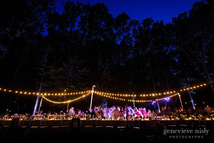 Open air outdoor wedding reception at inn at honey run, perfect for a night under the stars - Genevieve Nisly Photography