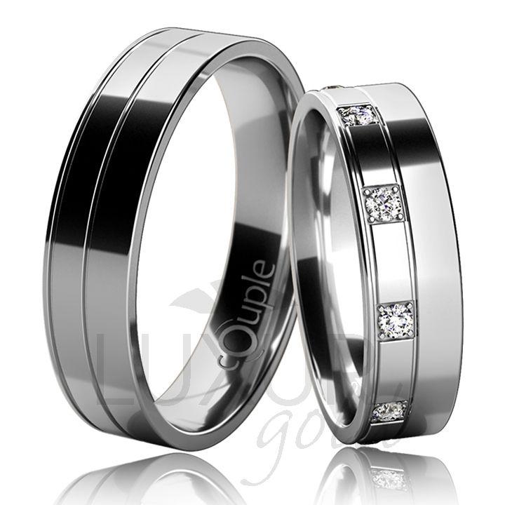 COUPLE - MAURICIUS snubní prsteny bílé zlato