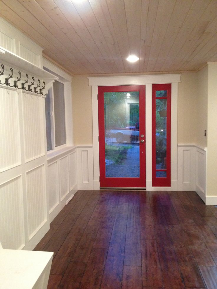 Built In Mud Room Red Door Maple Floors With Whitewashed