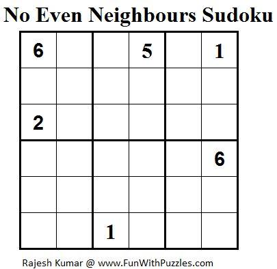 No Even Neighbours Sudoku (Mini Sudoku Series #39) Printable
