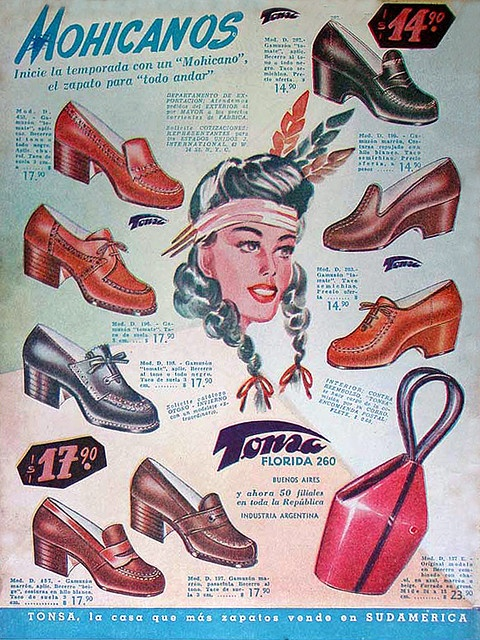 Mohicanos 40s Wedges & Loafers, Vintage Shoe Ad