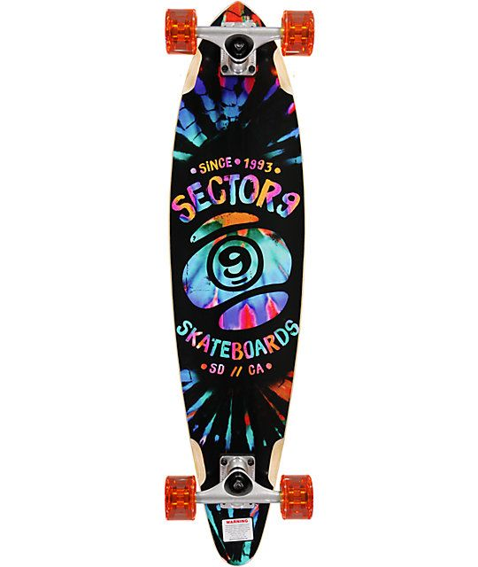Carve up the streets in a groovy style with a tie dye Sector 9 logo graphic plus a pintail shape with milled wheel wells to reduce wheel bite.
