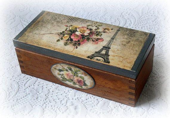 Wooden decoupage box , jewelry box ,  tea box , vintage style box , vintage roses , Eiffel Tower