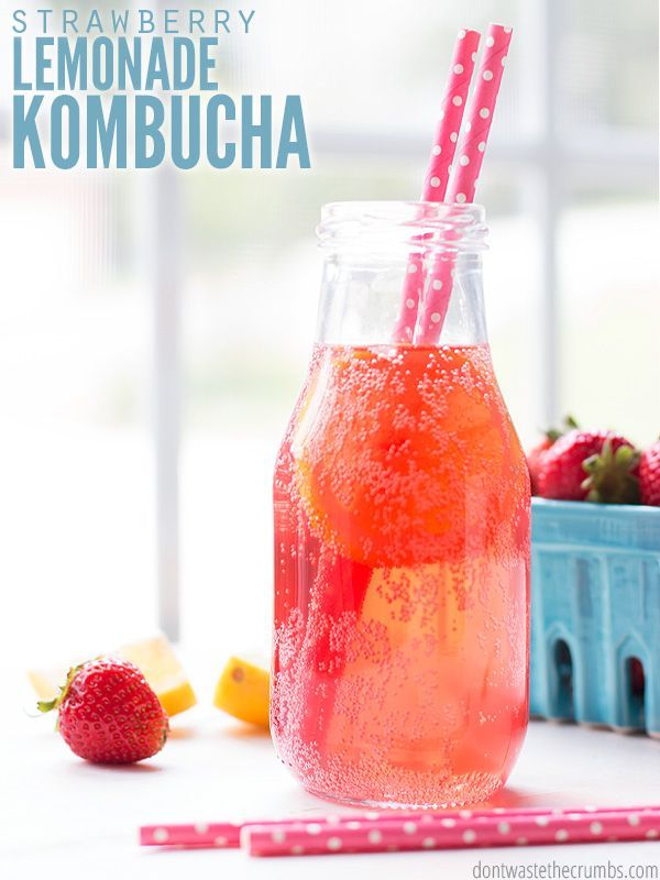 This strawberry lemonade kombucha recipe tastes amazing is way cheaper than brands like Humm, GT, Remedy and Synergy. My soda-loving husband loves the fizz! :: DontWastetheCrumbs.com
