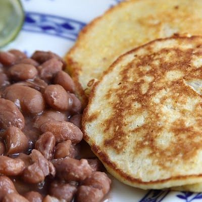 """Pinto Beans & Fried Corn Bread ..... Mommy made fried cornbread, we called then """"flitters"""", we ate them with her homemade burnt sugar syrup..so good!"""