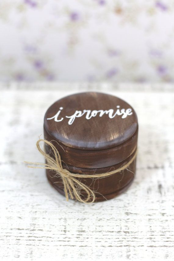 "Rustic Ring Bearer Pillow Box with Mossy Interior - ""I Promise""  - Rustic Weddings"