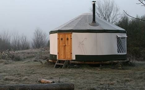 OK, yurts are no longer a bad hippie joke; they are light and efficient and a viable alternative to traditional construction. We have shown traditional Mongolian yurts, learned from David Masters that living in a yurt is quite comfortable, and seen