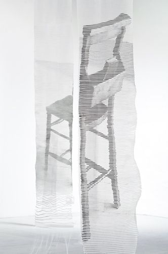 Ainsley Hillard Traces – Audio Textile Installation -combines traditional skills with new technology -memory, space and place