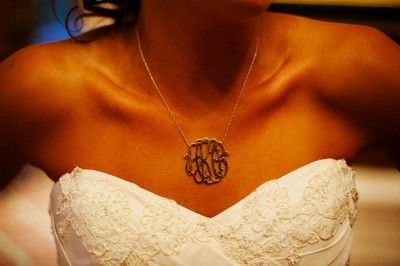 new monogram necklace for the reception. Love this idea