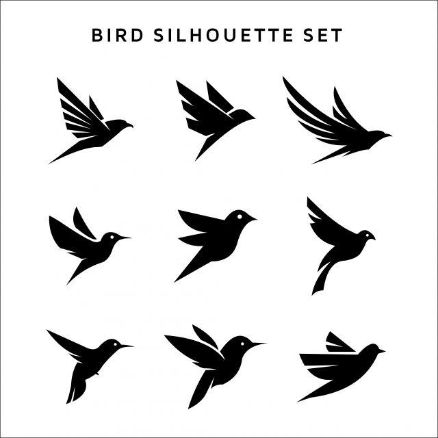 gambar set burung terbang logo siluet vektor logo terpencil pada putih logo ikon ikon putih ikon tanda png dan vektor untuk muat turun percuma in 2020 bird logo design birds flying bird logo design