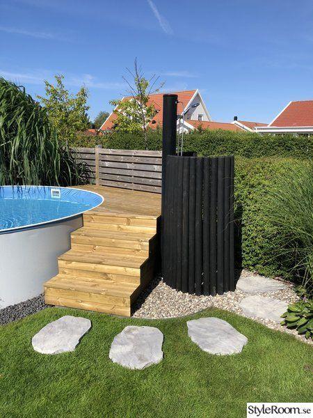 Pool, Holzdeck, Trittstein, Außendusche, Treppen …