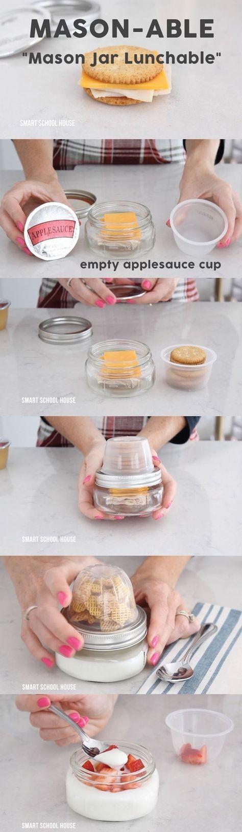 """DIY Mason Jar Lunchable (""""Mason-able""""). How to make Mason Jar Lunchable with an apple sauce cup and a mason jar! by cassandra"""