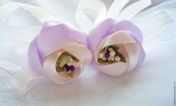 """Купить Резиночки для волос """"Сиреневый цветок"""" - сиреневый, резиночка для волос, подарок на 8 марта"""