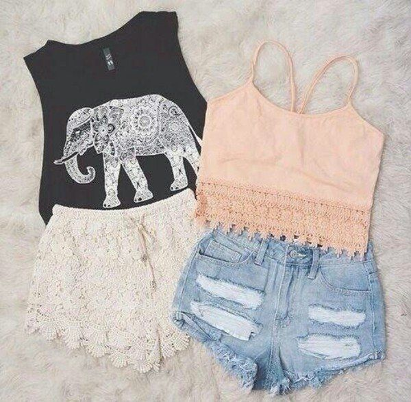 Cool Henna Style Elephant Print Crop Top in Black with White Stitched Pattern Waist High Shorts, and a Simple Peach Crop Top with Ripped Waist High Jean Shorts