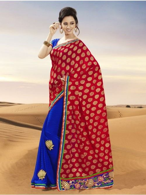 Red and blue Marble chiffon Half and Half Saree #Red #Blue #Chiffon #HalfAndHalfSaree #Saree #BuySaree