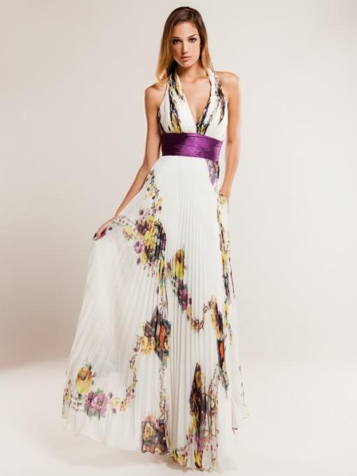 Vestido plisado con estampas en tonos violetas
