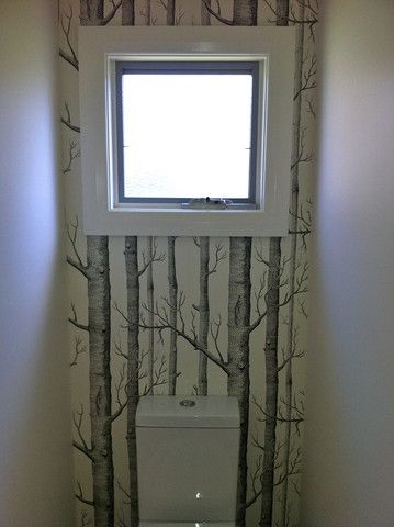 Wallpaper on back of toilet wall Via Removable Wallpaper Online — Cole & Son Woods Wallpaper 69/12147