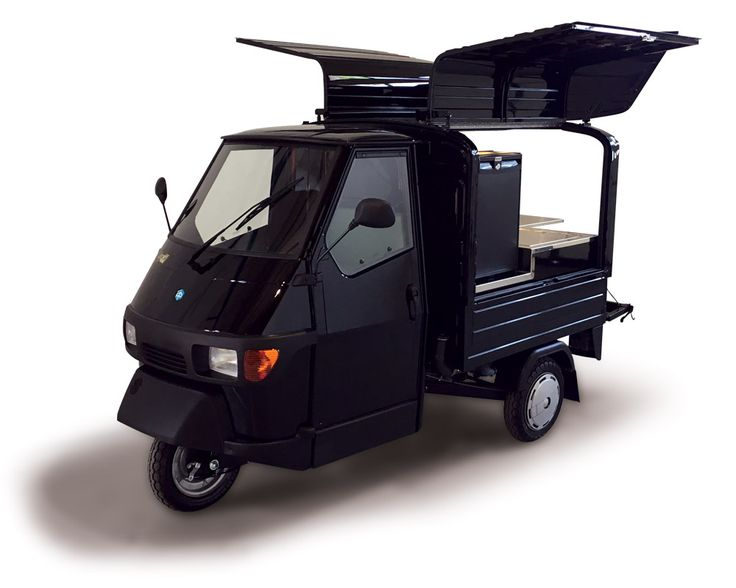 This all black Ape 50 Van outfitted by VS Veicoli Speciali for a coffee shop just arrived in Switzerland. Enjoy an espresso on the Geneva Lake shores!  #espressocoffee #geneva #foodvan #ape50 #piaggio #tobler