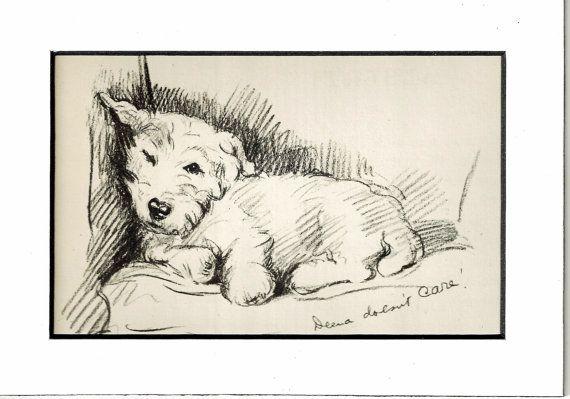 MATTED Antique Dog Print, 1930s Terrier Lucy Dawson, 5x7 Mounted Print Puppy Print, black & white Wall Decor, Home Interior Design, B-5