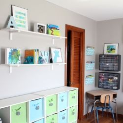 A colorful kid's playroom with lots of storage ideas and DIY decor projects.