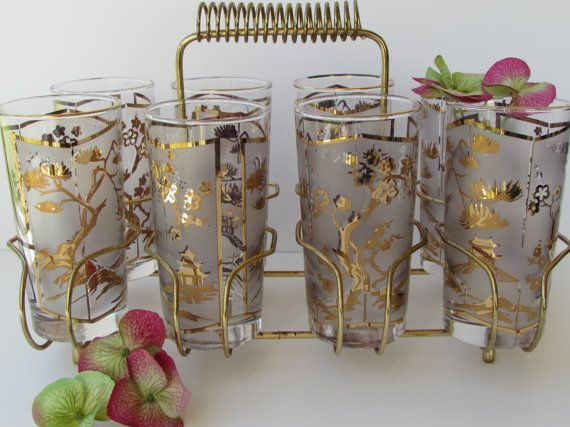 Mid Century Barware Set Of 8 Asian Toile By Mcbeanhomevintage 110 00