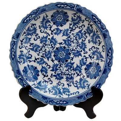 Oriental Furniture Floral Decorative Plate in Blue and White