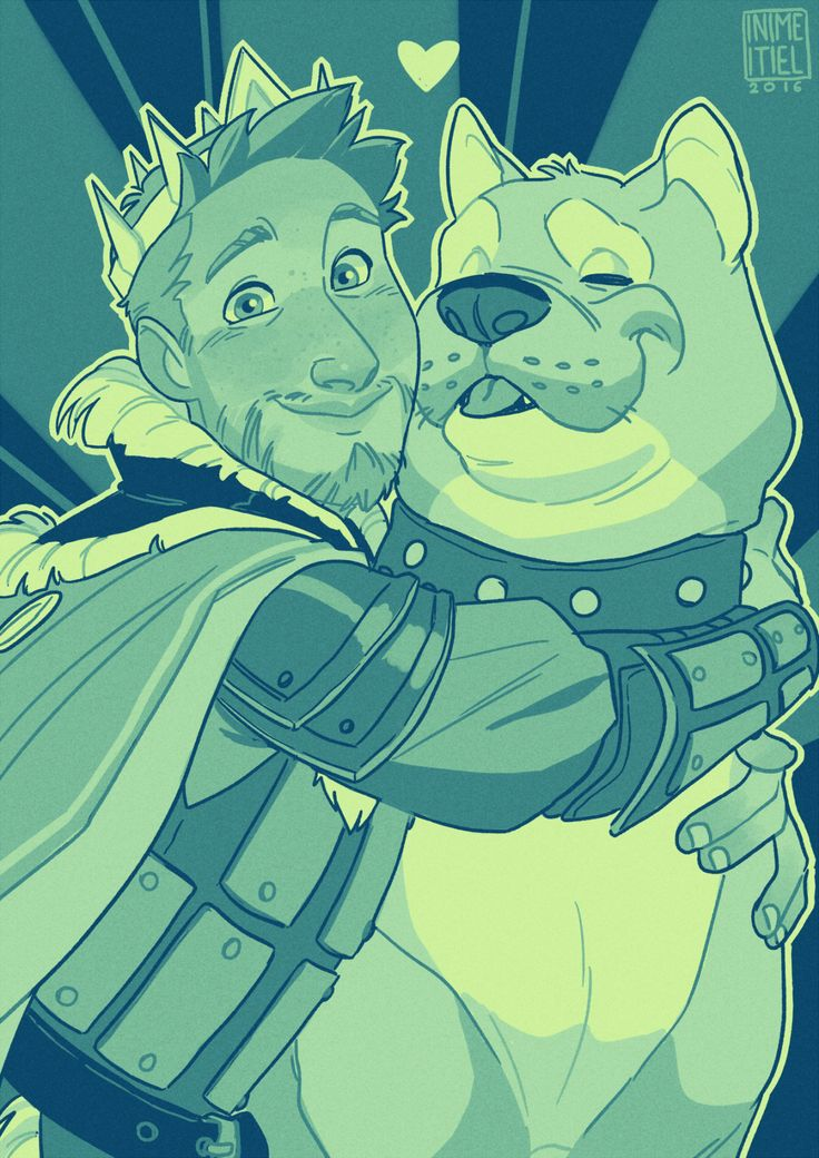 "inimeitiel: ""I got Alistair requested in various palettes. Here's the king of cheese and his mabari in ""Cool sunsets"" """