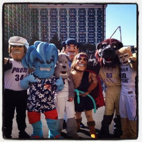 Representing USD at the WCC basketball championship...always beware of people/mascots who stand in the back.