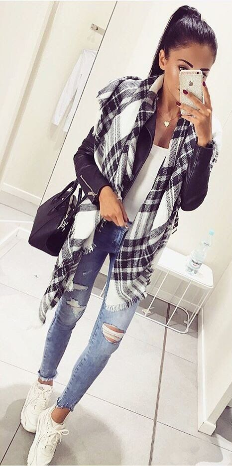 #fall #fashion ·  Plaid Scarf + Ripped Jeans + White Sneaker