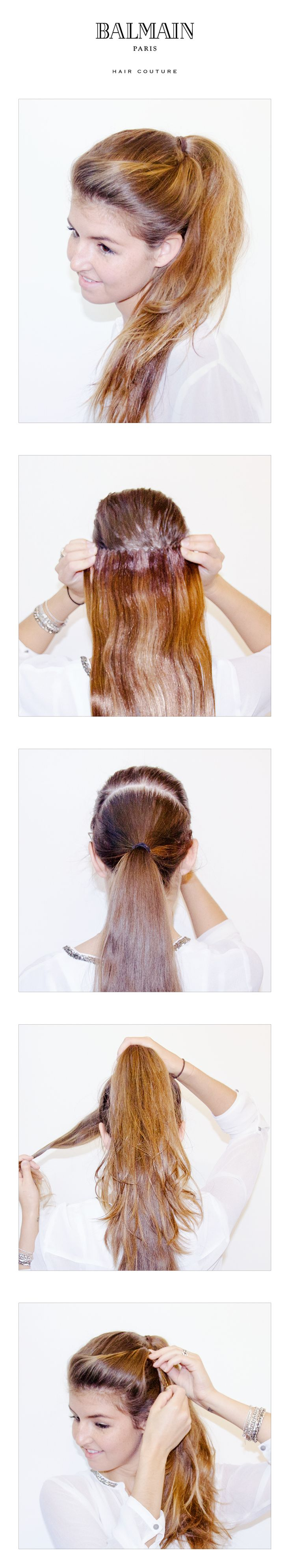 The longer the better. With the Balmain Hair Clip-In Weft and this 'double ponytail' trick you can create an incredibly long and voluminous ponytail.