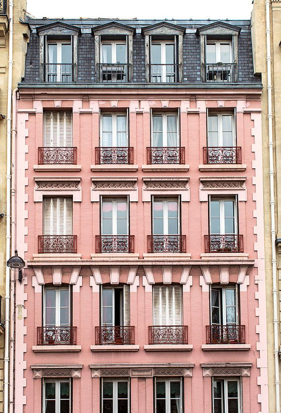 Paris Photography, Pink Building in Saint Germain, Architecture Fine Art Photograph, French Decor, Large Wall Art, Urban Wall Decor