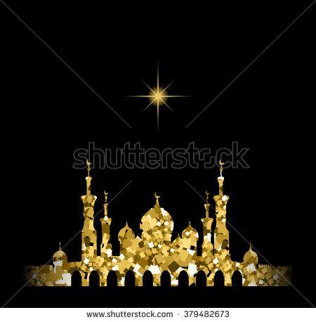 Glitter gold Silhouette of mosque with minarets and star. Concept for Islamic Muslim holidays Mawlid birthday prophet Muhammad, holy month Ramadan Kareem, Eid Mubarak, Fatima bint Muhammad