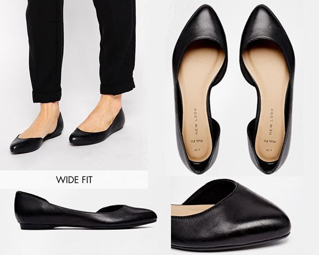 """New Look Wide-Fit """"Jamil"""" Leather Cutout Flat Ballerina Shoes 