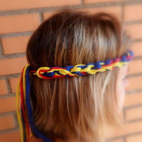 Hecho a mano crochet Colombia diadema para la Copa Mundial de Fútbol de 2014 en los colores de la bandera colombiana