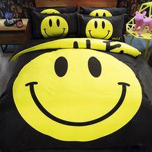 Amarelo preto capa de edredon colcha rainha rei gêmeo duplo único sorriso dos desenhos animados jogo do fundamento meninos meninas crianças roupa de cama colchas(China (Mainland))
