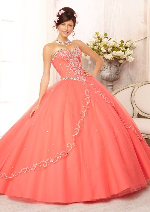 Quinceanera Gowns Style 88088: 88088 Embroidered and Beaded Bodice on a Tulle Ball Gown Skirt with Sweep Train http://www.morilee.com/quinceanera/quinceanera_vizcaya/88088