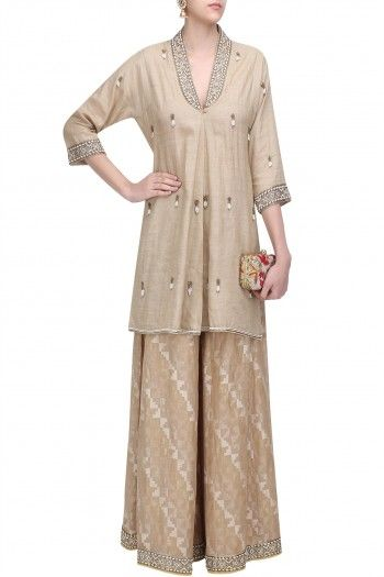 Ekaya Beige Pearl Embroidered Jacket Kurta and Palazzo Pants Set  #Ekaya #Ethnic #shopnow #ppus #happyshopping