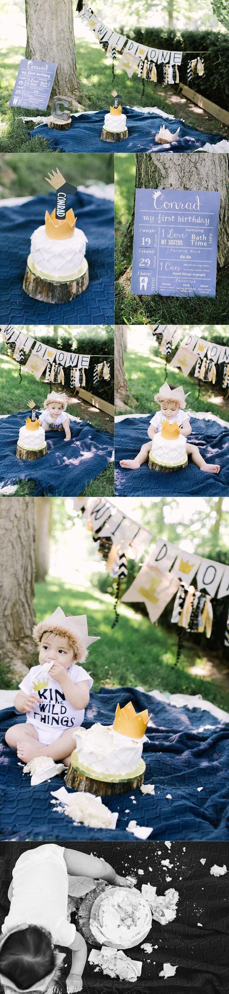 Where the wild things are cake smash first birthday theme! So stinkin cute!