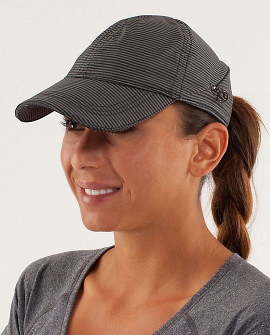 Lululemon running hat, wicks, built in sweat band and has a pocket for keys :)