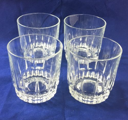 Four-4-Vintage-Arcoroc-LANCER-10-oz-Whiskey-OTR-Glasses-3-1-2-034-Mint