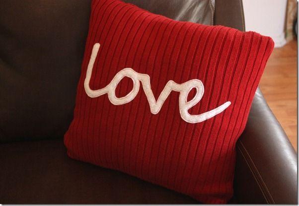 "Valentine  ""love"" Sweater Pillow: Sweaters Pillows, Red Pillows, Good Ideas, Old Sweater, Pillows Valentines, Love Ideas, Decor Pillows, Crafty Cupboards, Diy Pillows"
