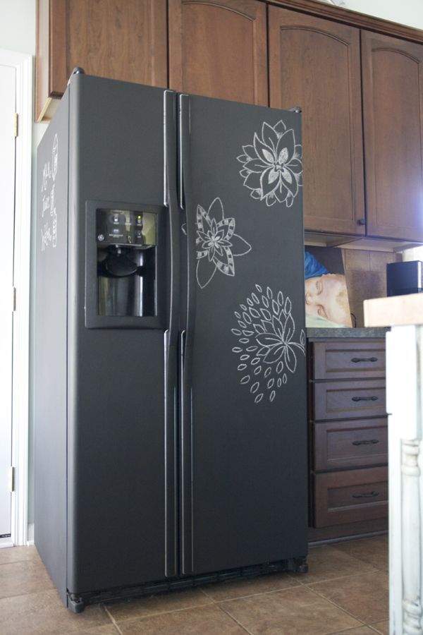 Chalkboard fridge.   Took about 3 coats of chalkboard paint.  Total cost: $13