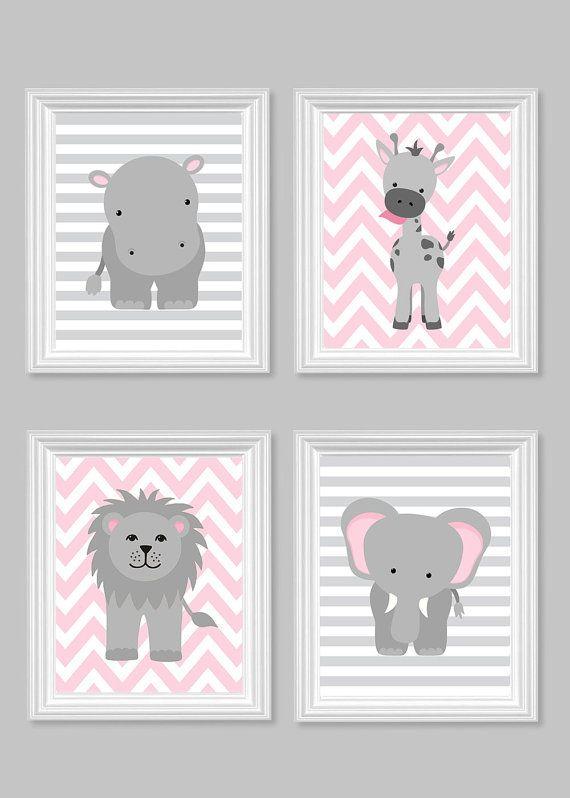 Zoo vivero decoración dormitorio gris y rosa por SweetPeaNurseryArt