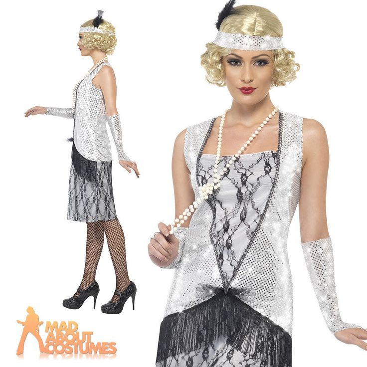 Ladies Flappers Charleston Gatsby Costume Silver 1920s Fancy Dress Outfit New in Clothes, Shoes & Accessories, Fancy Dress & Period Costume, Fancy Dress | eBay